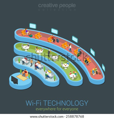 Public Wi-Fi zone wireless connection technology icon shape flat 3d isometric web banner template. People different interiors watch online TV work on computer surfing in restaurant transport station. - stock vector