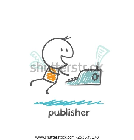 publisher flies on the wings and writes on a typewriter illustration - stock vector