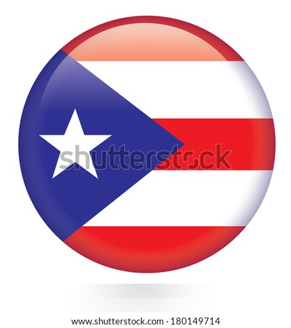Puerto Rico flag button - stock vector
