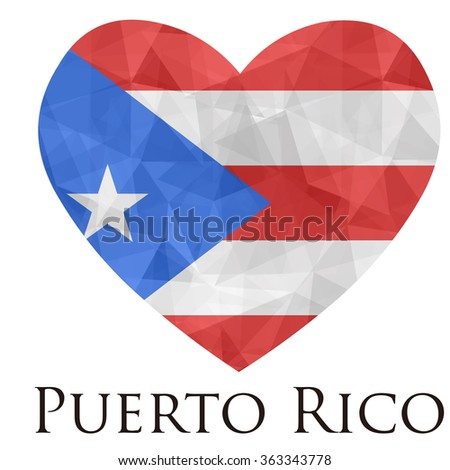 Puerto Rico flag shape heart in geometric rumpled triangular low poly origami style graphic illustration,mosaic polygonal style.Symbol of love to country.Retro or vintage style background. - stock vector