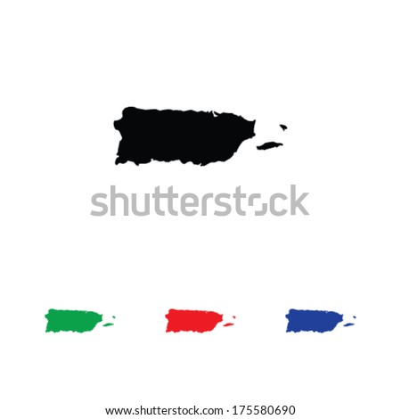 Puerto Rico Icon Illustration with Four Color Variations - stock vector