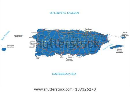 Puerto Rico map - stock vector