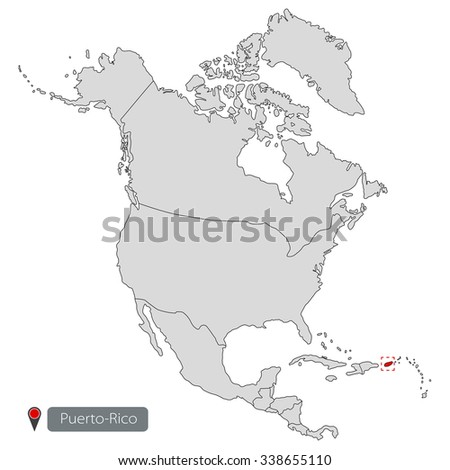 Puerto-Rico Map of North America - stock vector