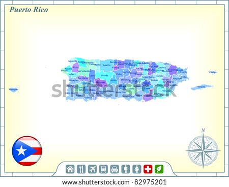 Puerto Rico Map with Flag Buttons and Assistance & Activates Icons Original Illustration