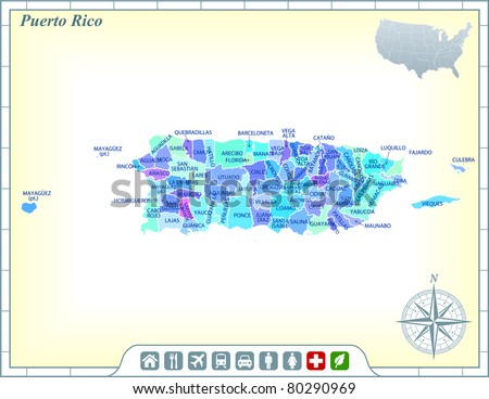 Puerto Rico State Map with Community Assistance and Activates Icons Original Illustration