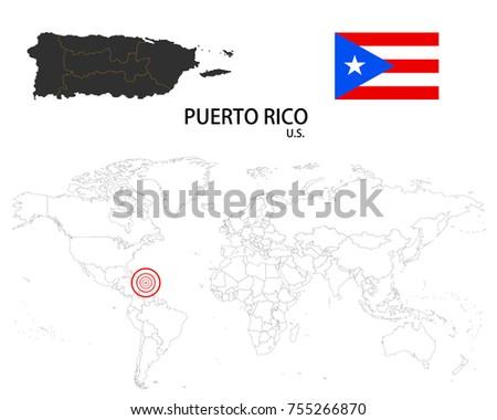 Puerto Rico US Map On World Stock Vector 755266870 - Shutterstock