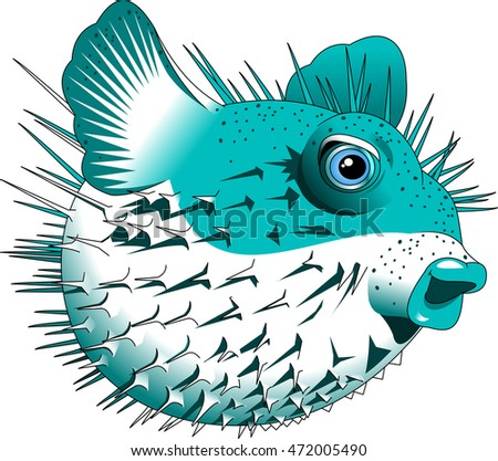 puffer fish,blow fish,cartoon vector image isolated on white background
