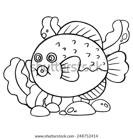 Puffer fish cartoon illustration isolated on white without color - stock vector