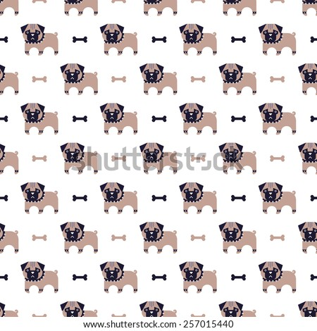 pug and bone pattern - stock vector
