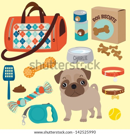 Pug care equipment - stock vector