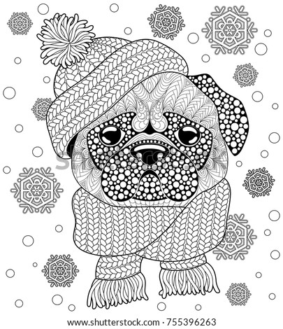 Pug Dog With Knitted Hat And Scarf. Tattoo Or Adult Antistress Coloring Page.  Black