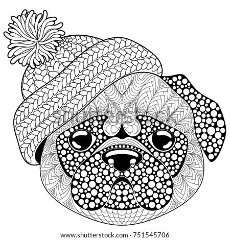 Pug Dog With Knitted Hat. Tattoo Or Adult Antistress Coloring Page. Black  And White