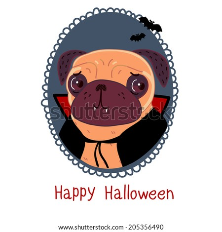 Pug dressed as a vampire for Halloween - stock vector
