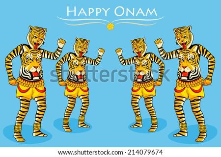 Puli Kali, tiger dance for Onam celebration in vector - stock vector