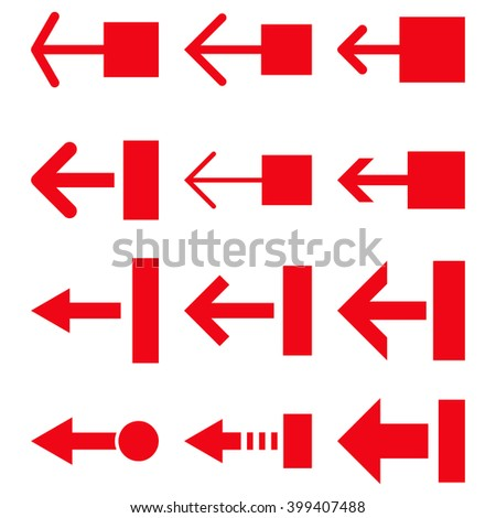 Pull Left vector icon set. Collection style is red flat symbols on a white background.