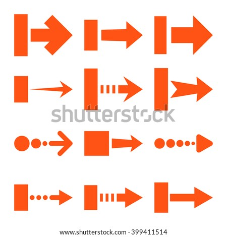 Pull Right vector icon set. Collection style is orange flat symbols on a white background.