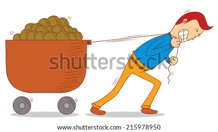 pulling a cart - stock vector