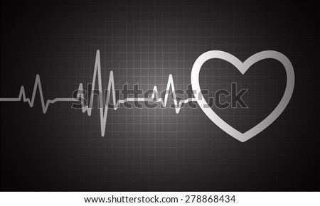 pulse heart glossy web icon on dark black background. Light Abstract Technology background for computer graphic website and internet.
