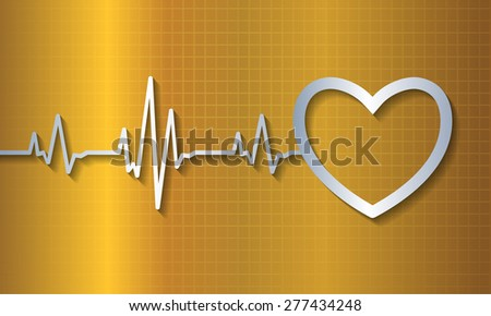 pulse heart glossy web icon on dark yellow gold background. Light Abstract Technology background for computer graphic website and internet. - stock vector