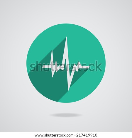 Pulse heart rate white icon in flat style with long shadow. Green button on white background. Vector illustration EPS10 - stock vector