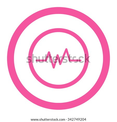 Pulse Monitoring vector icon. Style is flat rounded symbol, pink color, rounded angles, white background. - stock vector