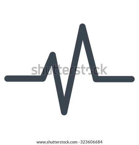 Pulse vector icon. Style is flat symbol, smooth blue color, rounded angles, white background. - stock vector