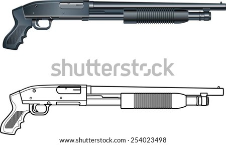pump action shotgun pump-gun - stock vector
