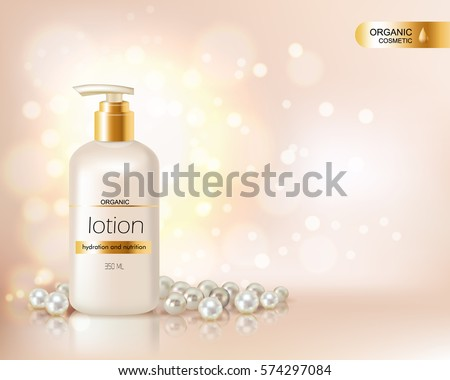 Pump top bottle with organic cosmetic lotion and gold cap decorated with scattering of pearls and glare background realistic vector illustration