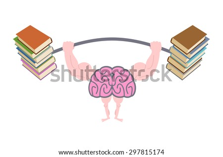 Pumping up brains. Strong brain with big muscles are engaged in post from books. Fitness fo mind. Brain and books. Use reading to the person. Vector illustration - stock vector