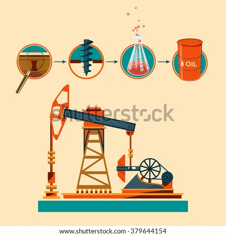 Pumpjack and Working Oil Pumps and Drilling Rig, Oil Pump, Petroleum Industry , Vector Illustration - stock vector