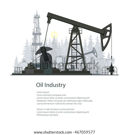 Pumpjack or Oil Pump Isolated on White Background, Oil Horse, Pumping Unit, Gasshopper Pump, Oil Industry, Overground Drive for a Reciprocating Piston Pump in an Oil Well,Poster Brochure Flyer Design