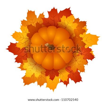 Pumpkin and autumn maple leaves. EPS 10 vector illustration. - stock vector