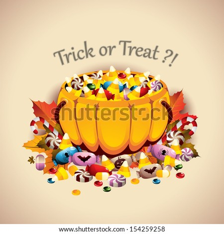 Pumpkin Basket full of Candies - EPS 10 - stock vector