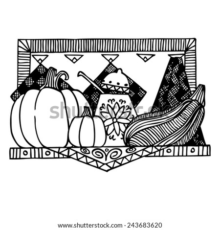Pumpkin black and white graphics sketch poster vector illustration. Background Kitchen. - stock vector