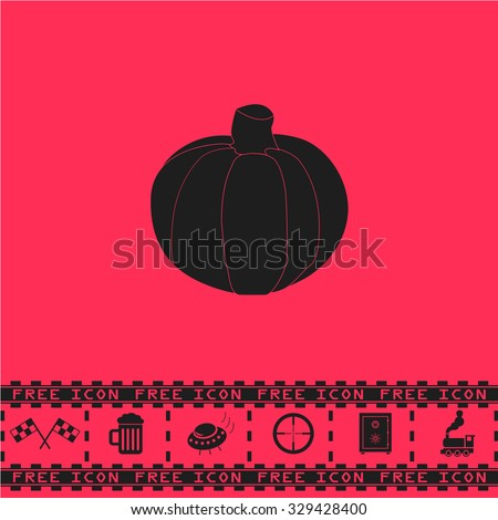 Pumpkin. Black flat vector icon and bonus symbol - Racing flag, Beer mug, Ufo fly, Sniper sight, Safe, Train on pink background - stock vector