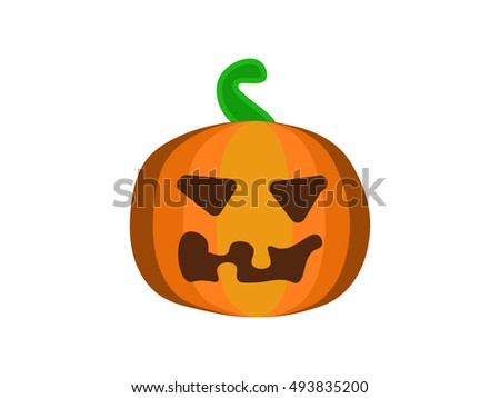 Pumpkin. Cartoon halloween pumpkin. Vector pumpkin with sinister smiling face isolated on white background