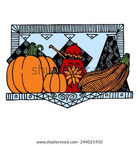 Pumpkin color sketch poster vector illustration. Background Kitchen. - stock vector