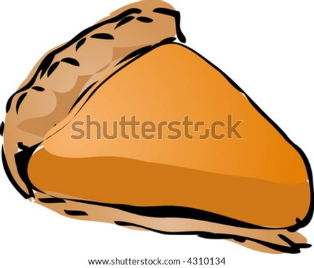 Pumpkin cream Pie, hand drawn retro illustration - stock vector