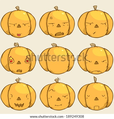pumpkin emotion-angry - stock vector