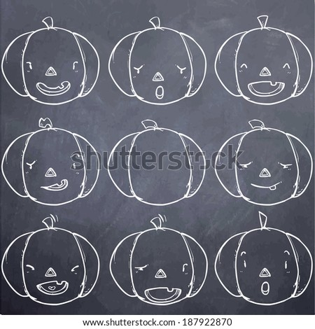 Pumpkin emotion set-chalk board - stock vector