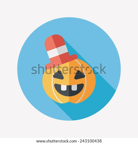 pumpkin flat icon with long shadow, eps10 - stock vector