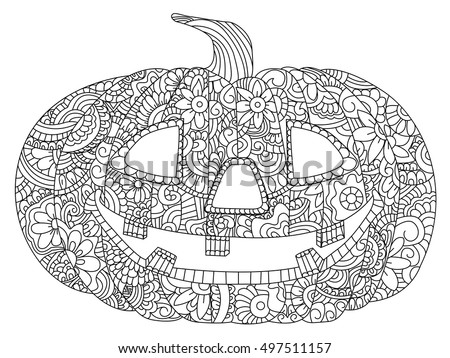 Pumpkin Halloween Coloring Book Vector Illustration Stock Vector ...