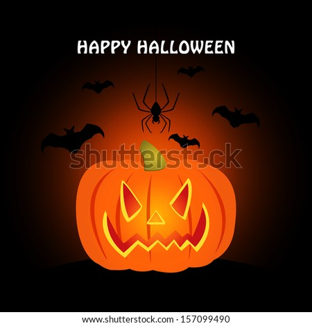 Pumpkin for Halloween / Halloween pumpkin background / card / invitation  - stock vector