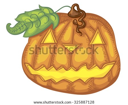 Pumpkin for Halloween party. Vector Image. - stock vector