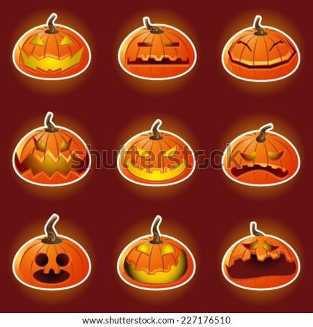 pumpkin hallowen emticons.jpg - stock vector