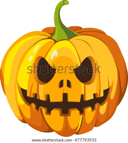 Pumpkin head 3d vector illustration on white background