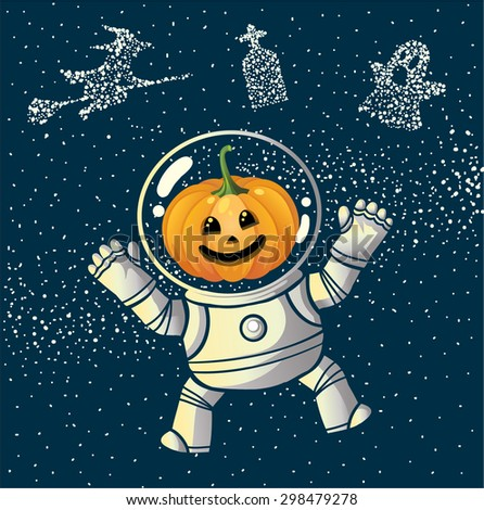 Pumpkin Head Witch Astranaut Character on Halloween in The Space - stock vector