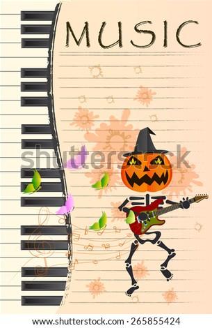 Pumpkin-headed skeleton, playing guitar. - stock vector