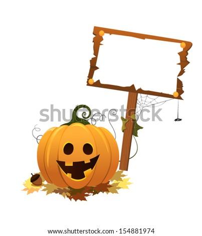 Pumpkin Holding Blank Sign - stock vector