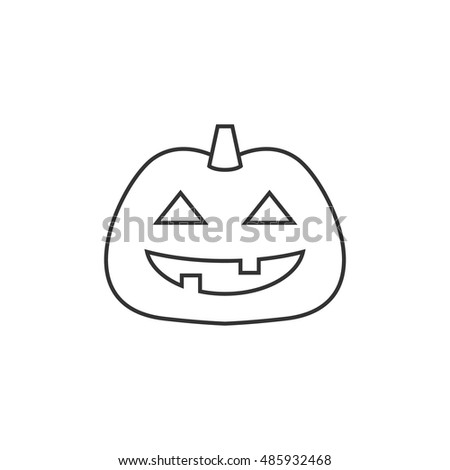 Pumpkin icon in thin outline style. Holiday object spooky Halloween October season
